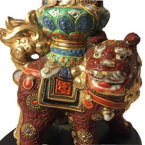 Asian Foo Dog Lamp Wood Base Japan Gold Accents Vintage