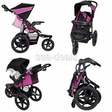 3 Wheel All Terrain Jogger Stroller Baby Infant Lightweight Reclining Cup Holder