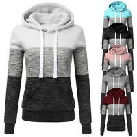 Women Loose Fit Hoodies Sweatshirt Patchwork Ladies Hooded Blouse Pullover Tops