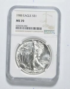 MS70 1988 American Silver Eagle - Graded NGC *3326