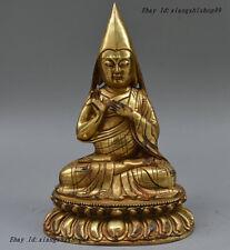 "11"" Old Tibet Buddhism Bronze Gilt Gold Je Tsongkhapa Buddha Statue Sculpture"