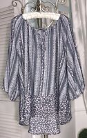 NEW Plus Size 3X Gray White Floral Peasant Blouse Print Tie Boho Shirt Top