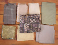 Lot of 8 Vintage Mid Century Browns Patterned Quilt Cutter Fabric Pieces