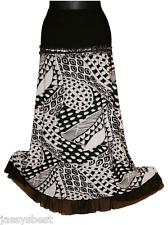 JB 48 50 GLAMOUR Style Stretch Rock mit Passe  Bodenlang A Linie Schwarz Weiß