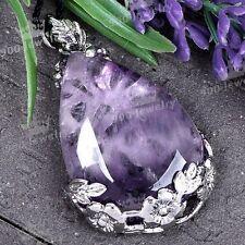 1x Amethyst Gemstone Bead Inlaid Flower Crystal Teardrop Pendant Fashion Charm