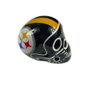 PITTSBURGH STEELERS Skull Helmet Ceramic MEX. Clay Figure, Hand made/Painted 3''
