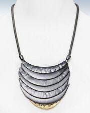 AQUA Hematite & Gold-Tone Layered CRESCENT Frontal Necklace