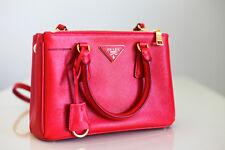 Prada Saffiano Double-Zip Mini Small Crossbody Handbag in Coral Red