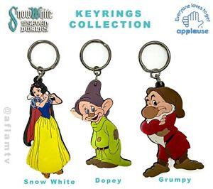 Snow White Dopey Grumpy Dwarfs Figurine vinyl Keyring Keychain Disney Applause