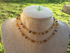 Brown Freshwater Pearls, & Mop Shell Handmade Necklace of Yellow Glass Beads,