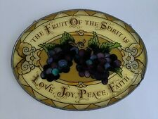 "Glassmasters Stained Glass Window Art  Suncatcher Grapes 9""x6.5"" Galatians 5:22"