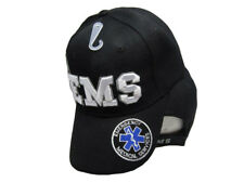 Black EMS Emergency Medical Service White Shadow Embroidered Cap Hat