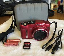 Canon PowerShot SX160 IS  MP Digital Camera - Red~~Nr Mint~~Bundle~~32GB Card~~