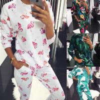 Women Ladies Tracksuits Shirt Pants Set Casual Sport Activewear Flamingo Floral
