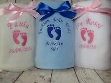 PERSONALISED BABY BLANKET NAME DATE WEIGHT BOY/GIRL NEW BABY GIFT CHRISTENING