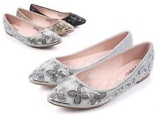 Silver Glitter Round Toe Slip On Only Rhinestones Womens Boats Flats Size 7.5