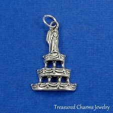 Silver WEDDING CAKE CHARM Bridal Marriage PENDANT *NEW*