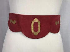 New listing Vintage 30s 40s Red Gold Waist Belt Suede Leather Size 12?