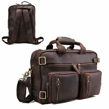 "Mens Real Leather 14"" Laptop Briefcase Backpack Messenger Shoulder Bag Schoolbag"
