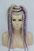 Blonde & Purple Synthetic Dread Falls, Hair Pieces, 20 Inches, Unisex.