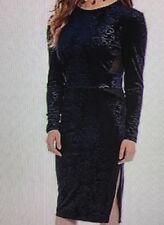 WOMENS NWT BUFFALO DAVID BITTON DRESS NAVY BLUE VELVET STRETCH BACKLESS SZ M
