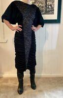 MR K Vintage GLAM Sz 10 80s Black Fancy Dress Hens Night Cocktail Party Fishtail
