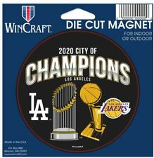 "Los Angeles Dodgers and Lakers 2020 City of Champions 4.5"" x 6"" Magnet"