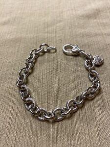 """Judith Ripka Textured Sterling Silver Heart Chain Bracelet 8"""""""