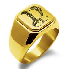 Stainless Steel Monogram Royal Initial V Mens Square Biker Style Signet Ring