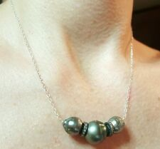 Triple grey black baroque Tahitian pearl pave diamond 925 silver necklace