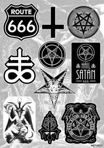 Occult Symbols Sticker Pack Leviathan Cross Satanic Pentagram Route 666 Baphomet