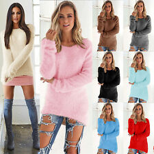 Womens Winter Fleece Fluffy Crew Neck Sweater Jumper Ladies Warm Pullover Blouse