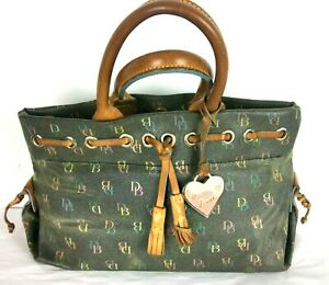 VTG Dooney Bourke Tassel Tote Patina Leather Coated Canvas Bag Purse Made in USA