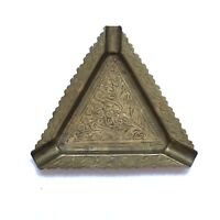 Vintage Brass Ashtray Etched Triangle Tobacciana Collectible India Stamped 1544c