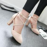 Women Faux Suede Cross Buckle Strap Thick Heels Mary Jane Roma Shoes Court Pumps
