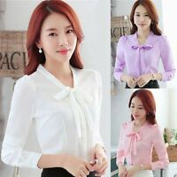 Elegant Women Lady Bow Tie Long Sleeve Chiffon Blouse Career OL Slim Shirt Tops
