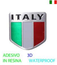 STICKERS ADESIVO EMBLEMA PLACCHETTA 3D METALLO RESINA BANDIERA ITALIA MOTO AUTO