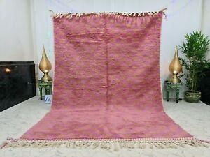 "Moroccan Handmade Beni Ourain Rug 6'5""x9'6"" Berber checkered Pink Wool Rug"