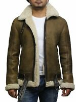 Brandslock Mens Real Shearling Sheepskin Leather Aviation Bomber Flying Jacket