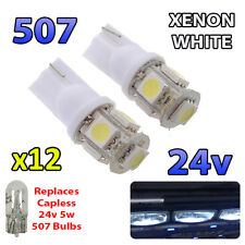12 x White 24v Capless Hella Spot Light 507 W5W 5 SMD T10 Wedge Bulbs HGV Truck