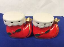 Vintage Red Santa Boots Salt & Pepper Set