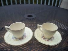"Crown Ducal Florentine ""Picardy"" Pair of Demitasse Cups & Saucers"