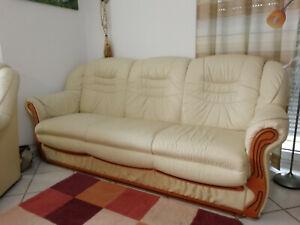 Ledersofa mit Schlaffunktion + Sessel