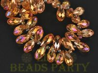 New 10pcs 16x8mm Teardrop Faceted Glass Pendant Loose Spacer Beads Gold Rose
