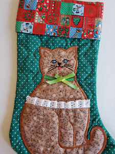 """Vtg 70s 80s CALICO PRINT CAT QUILTED CHRISTMAS STOCKING Green POLKA DOT 15"""""""