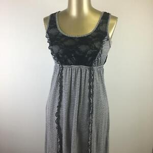 MAURICES Round Neck Lace Trim Linen Black Striped Tank Dress Women's Size Small