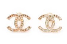 Chanel gold double CC logo motif crystal embellished stud pierced earrings $350