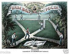 Vintage Base Ball BASEBALL Polka Sheet Music Cover Fine Art Print / Poster