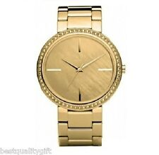 NEW DKNY GOLD TONE STAINLESS STEEL BAND+MOP DIAL,CRYSTALS MEN WATCH-NY8005