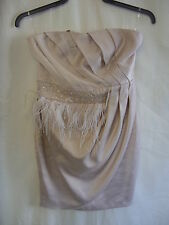 Ladies Dress - Lipsy, size 12, beige/gold colour, feathers/beading, bandeau 0011